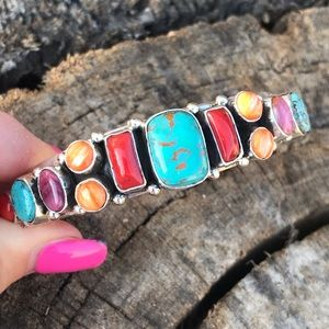 Navajo Sterling Silver Multi Stone Cuff By Begay